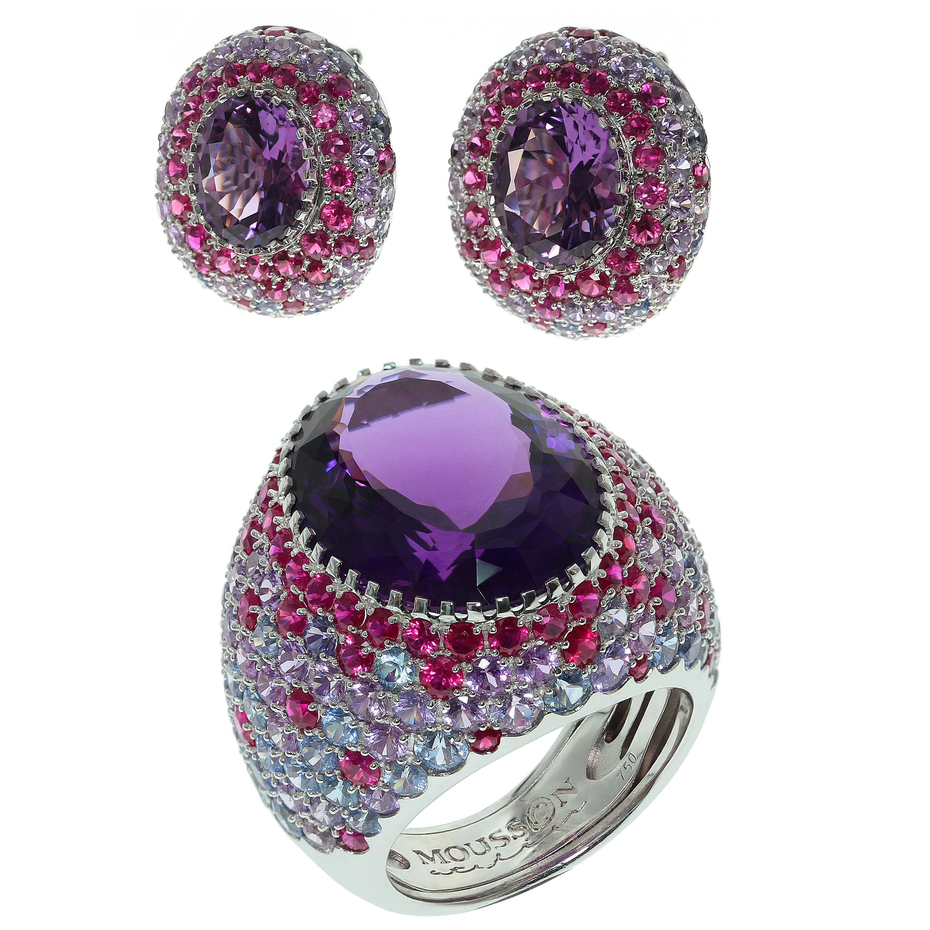 Amethyst Multi-Color Sapphire 18 Karat White Gold Suite