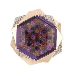 Amethyst, Multi Sapphire and Diamond Studded Ring in 14 Karat Rose Gold