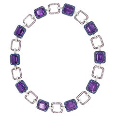 Amethyst Necklace, 54.41 Carat with Lilac Blue and Pink Corunds and Diamonds