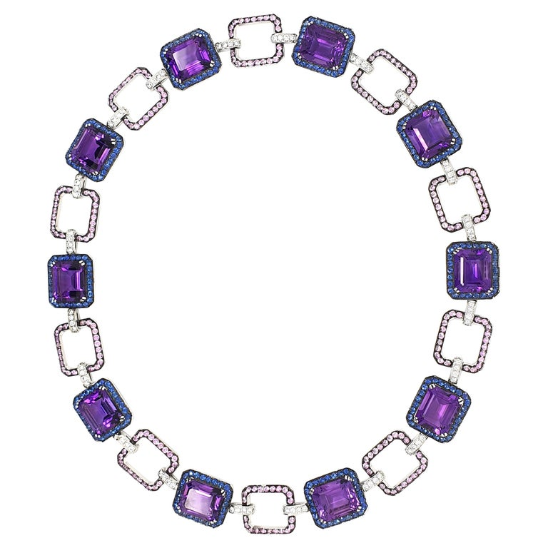 Amethyst Necklace, 54.41 Carat with Lilac Blue and Pink Corunds and Diamonds For Sale