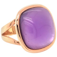 Amethyst on Mother of Pearl with 18 Karat Rose Gold Fashion Ring