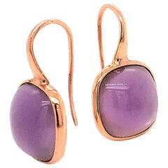 Amethyst on Pink Gold 18 Karat Drop Earrings