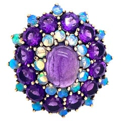 Amethyst Opal Cocktail Ring Estate Fine Jewelry