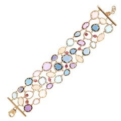 Amethyst Opal Lilac Quartz Diamonds 3 Row 18k Gold Fabulous Bracelet for Her