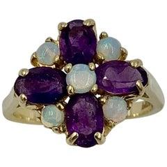 Amethyst Opal Ring 14 Karat Gold Retro Modern