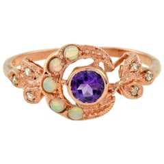 Fleur Victorian Amethyst with Opal and Diamond Ring in 9K Rose Gold
