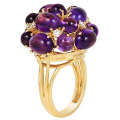 Goshwara Amethyst  Cabochon And Diamond Ring