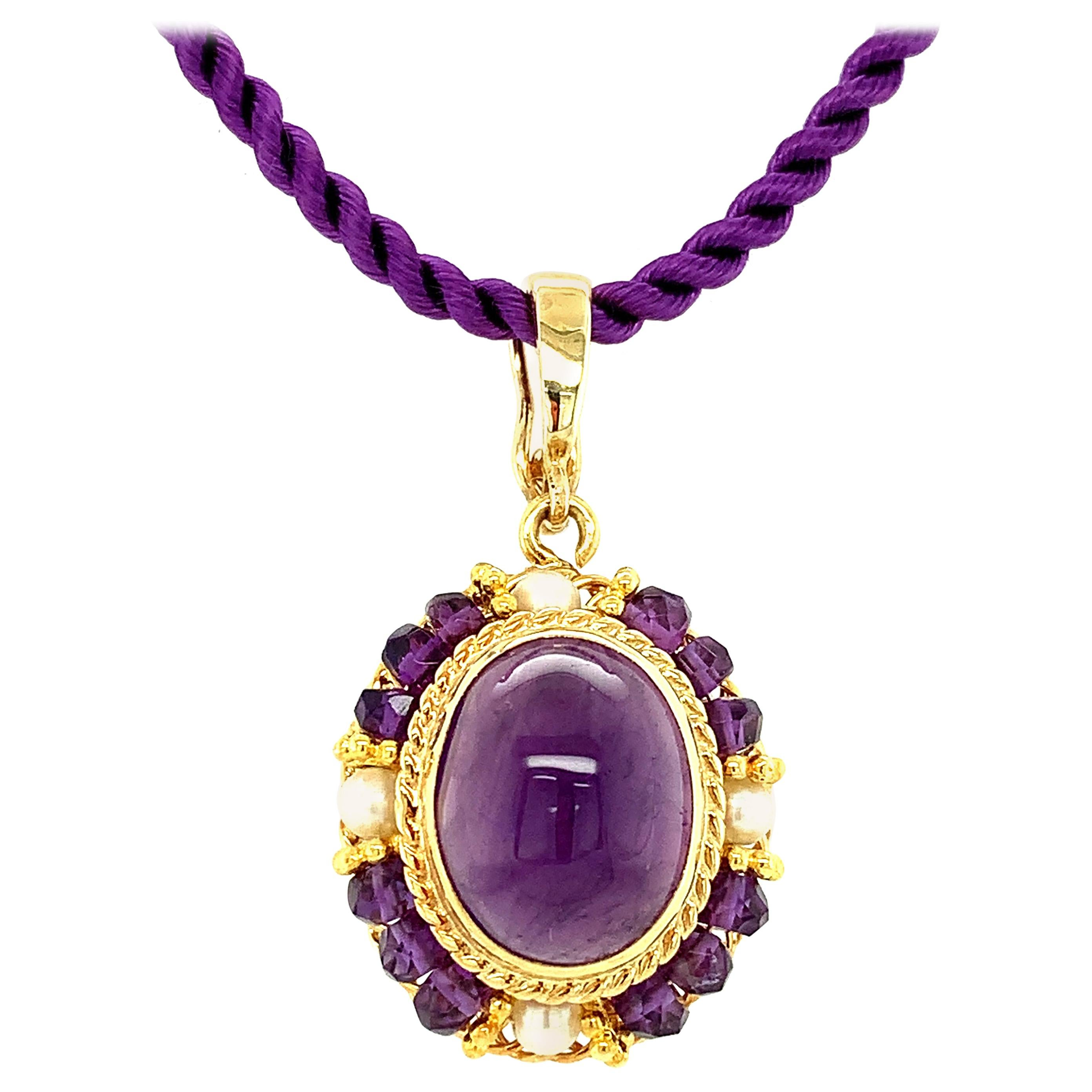 Amethyst Oval Cabochon and Pearl Yellow Gold Handmade Filigree Pendant Necklace