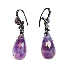 Amethyst Pear Shaped Drop Earrings