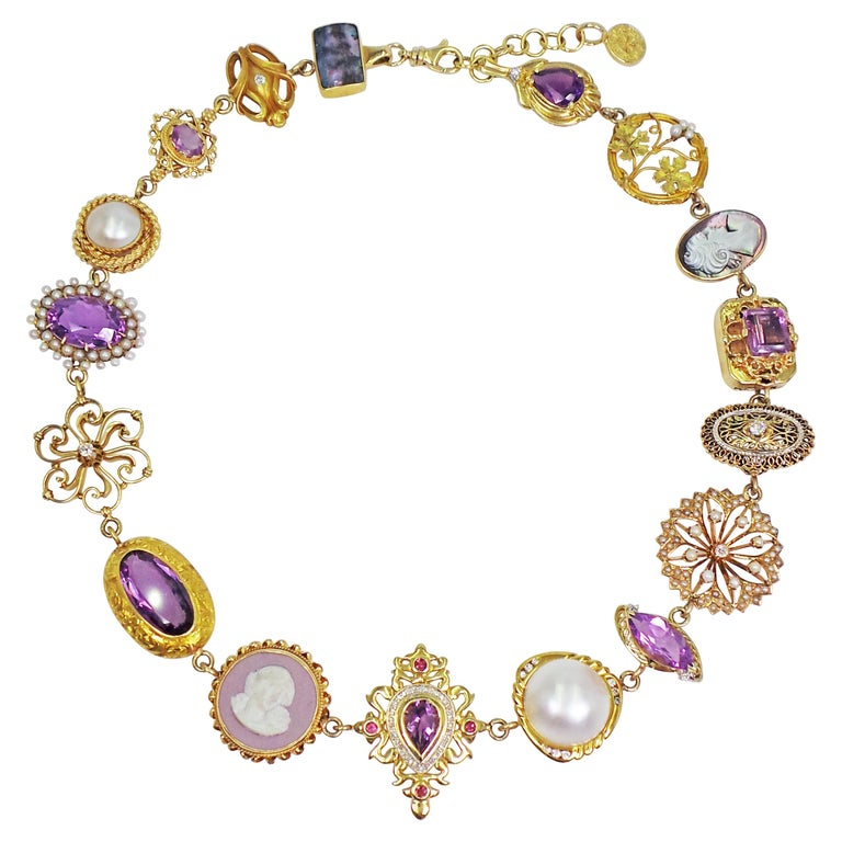 Amethyst, Pearl and Multi-Gemstone 14 Karat Gold Bohemian Necklace For Sale