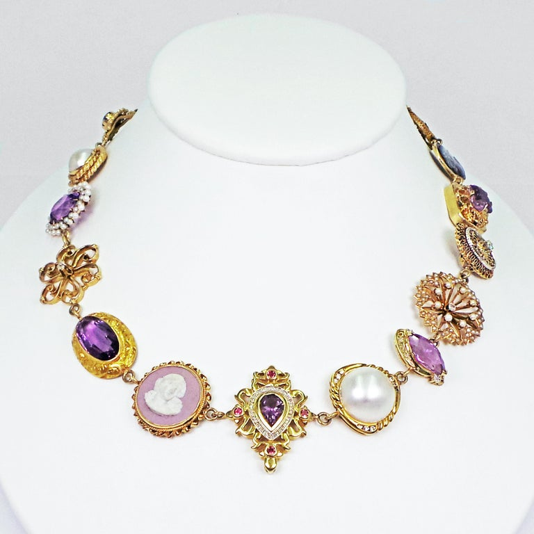 Amethyst, Pearl and Multi-Gemstone 14 Karat Gold Bohemian Necklace For Sale 1
