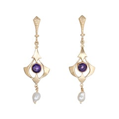 Amethyst Pearl Drop Earrings Vintage 14 Karat Yellow Gold Estate Fine Jewelry