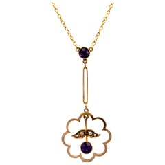 Amethyst & Pearl Drop Pendant Necklace with Split Gold Chain