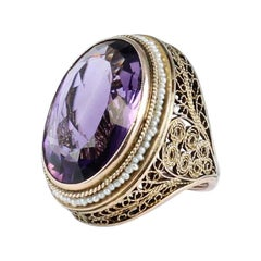 Amethyst Pearl Ring in 12 Karat Yellow Gold, Victorian