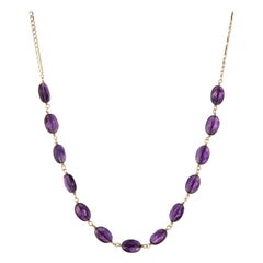 Amethyst Pebble Necklace Vintage 14 Karat Yellow Gold Figaro Link Fine Jewelry