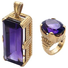 Amethyst Pendant and Ring Gold Suite