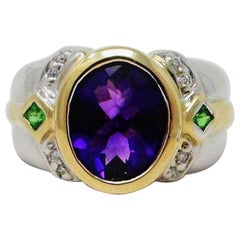 Amethyst, Peridot and Diamond Ring in Two-Tone Gold