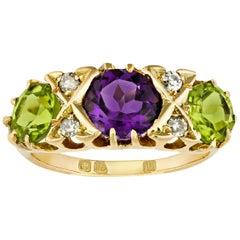 Amethyst, Peridot and Diamond Suffragette Ring, 1.70 Carat
