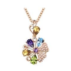 Amethyst Peridot Blue Topaz Citrine Diamond Necklace 18K Rose Gold