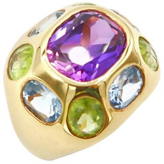 Oval Shaped Amethyst Peridot Blue Topaz Gold Cocktail Ring
