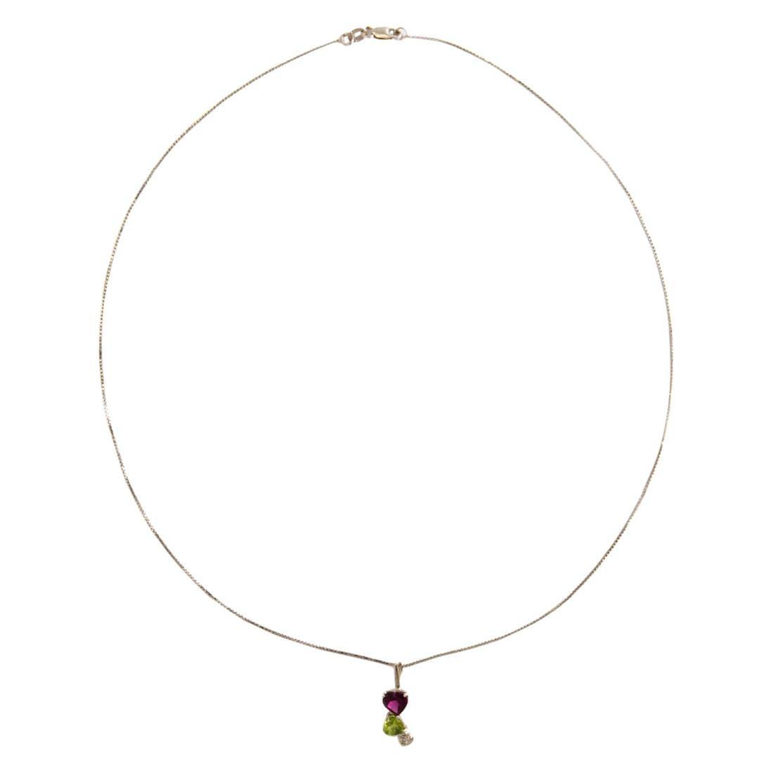 Amethyst Peridot Diamond Pendant Necklace