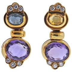 Amethyst Peridot Gold Earrings