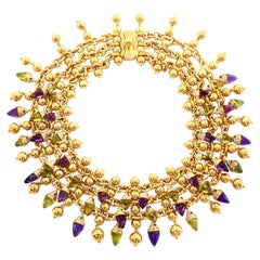 Amethyst, Peridot , Ruby, Diamond Multi Gem Collar Necklace 18 Karat Yellow Gold