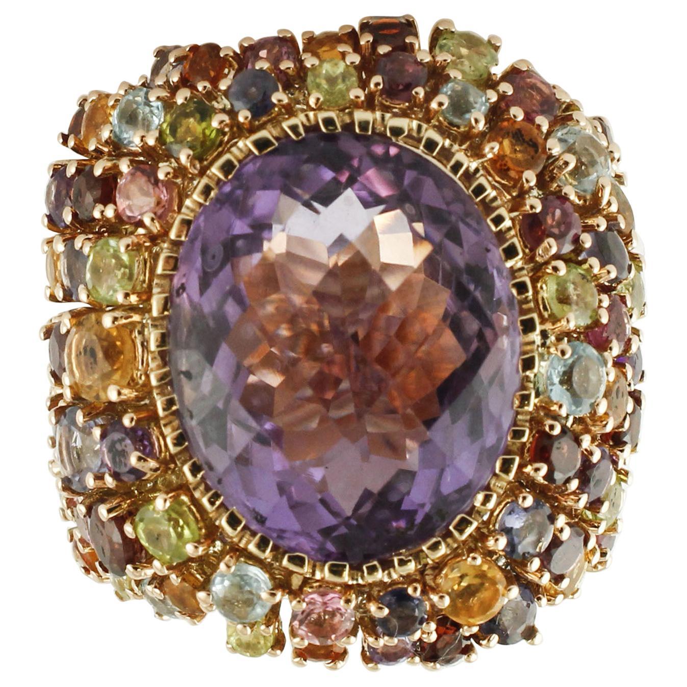 Amethyst, Peridots, Topazes, Tourmaline, Aquamarine, Garnets Yellow Gold Ring
