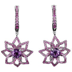 JAG New York Amethyst and Pink Sapphires in Platinum Clip On Earrings