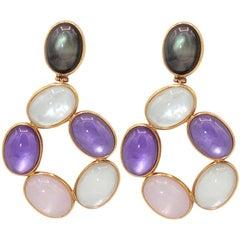 Amethyst, Pink and Ialino Quartz, 18 Karat Pink Gold Earrings