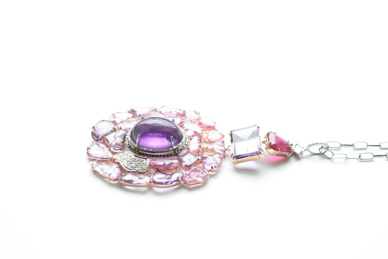 Women's Amethyst, Pink and Purple Sapphire, Spinel and Diamond Joanie Necklace For Sale