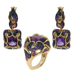 Amethyst Pink Blue Black Sapphire 18 Karat Yellow Gold Ring Earrings Suite