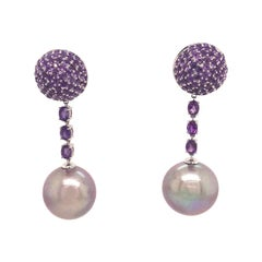 Amethyst Pink Freshwater Pearl Drop Earrings 3.22 Carat 18 Karat White Gold