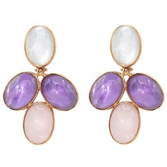 Amethyst, Pink Quartz and Ialino Quartz 18 Karat Pink Gold Earrings