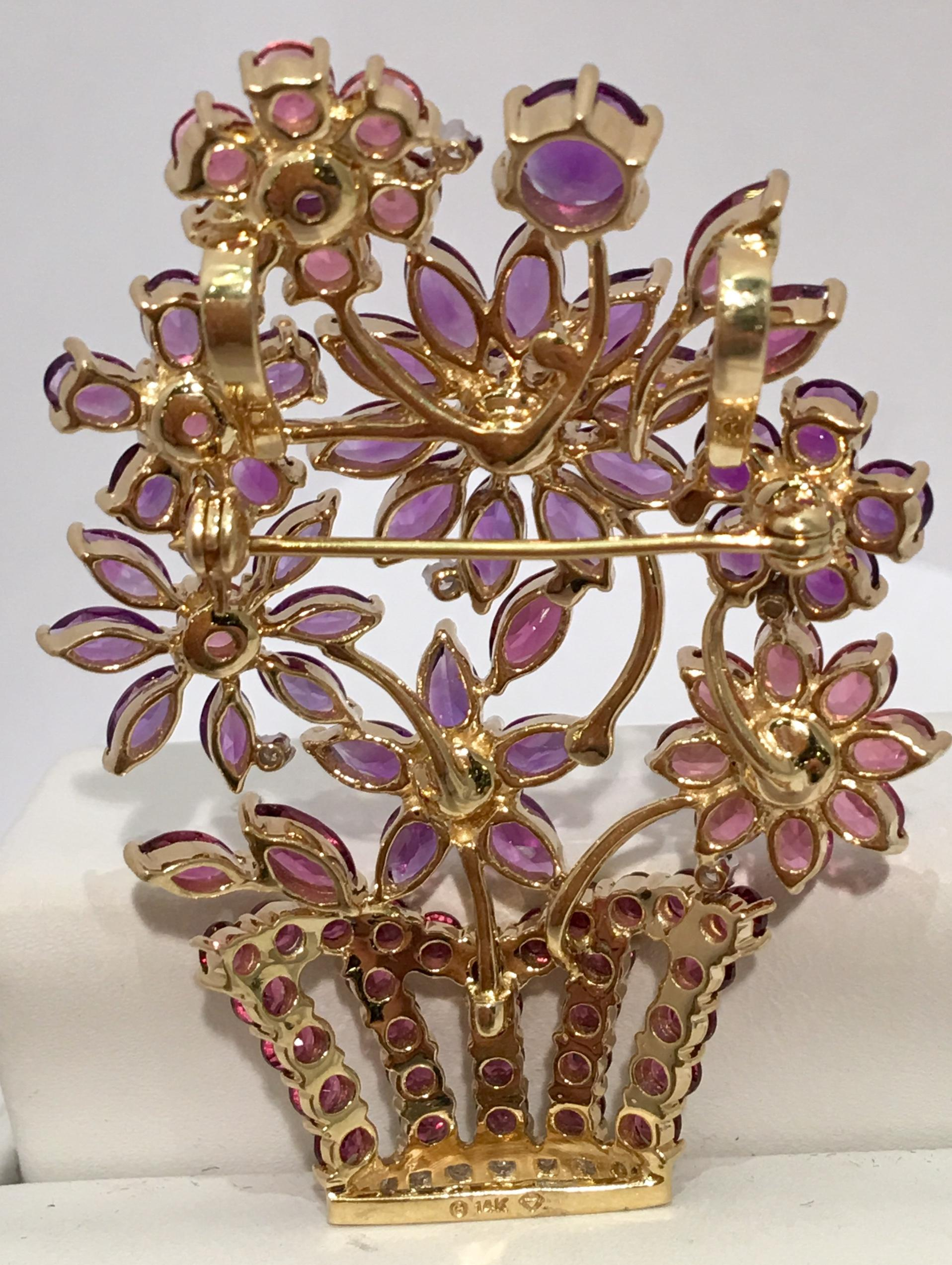 fe2b4843540 Amethyst, Pink Sapphire and Diamond Flowers 14 Karat Gold Brooch Large  Pendant at 1stdibs