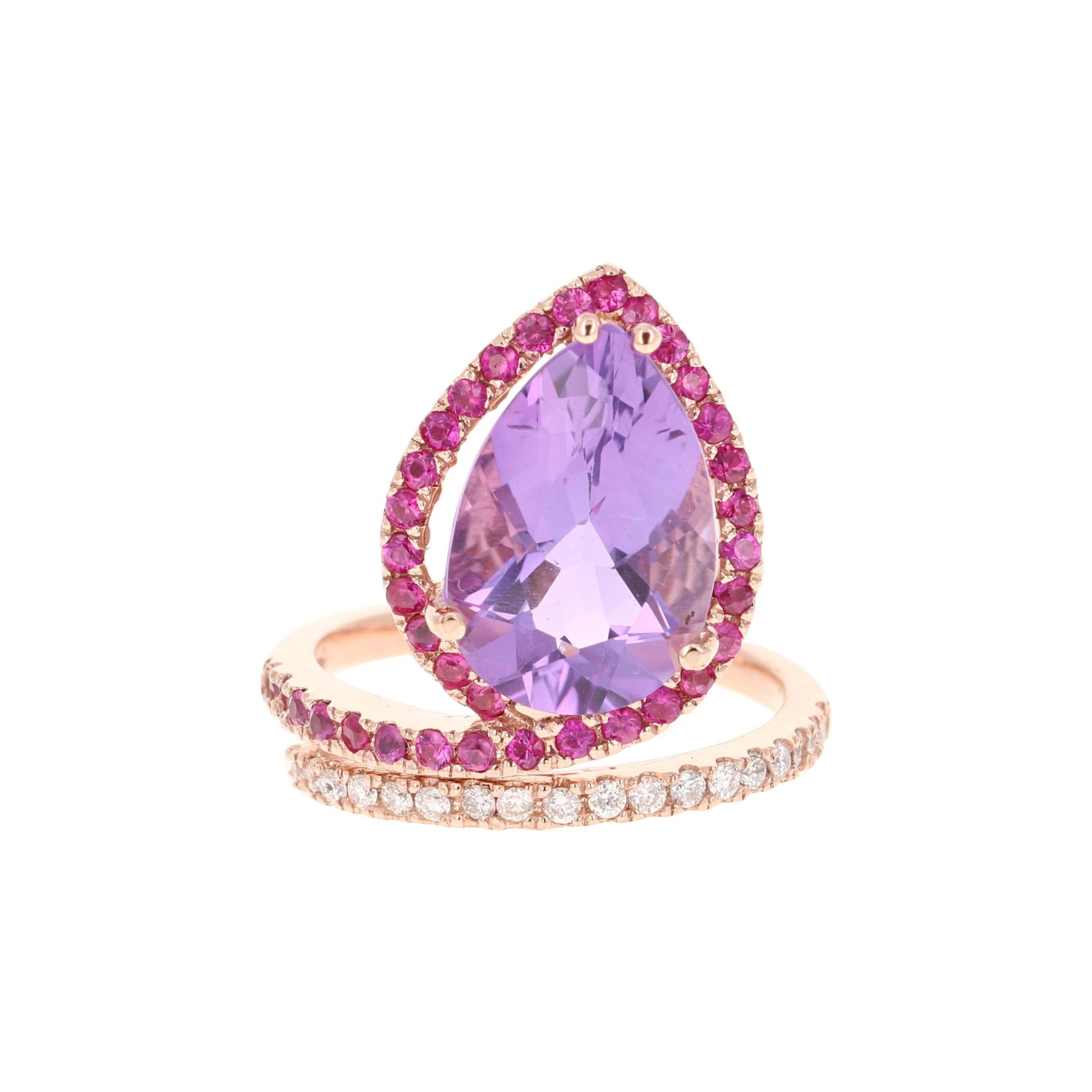 5.49 Carat Amethyst Pink Sapphire Diamond 14 Karat Rose Gold Cocktail Ring