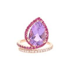 Amethyst Pink Sapphire Diamond 14 Karat Rose Gold Cocktail Ring