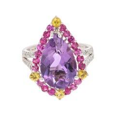 6.54 Carat Amethyst Pink and Yellow Sapphire Diamond Ring