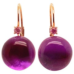 Amethyst Pink Sapphires Pink Gold 18 Karat Earrings