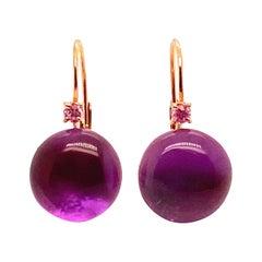 Amethyst Pink Sapphires Pink Gold 18 Karat Earrings