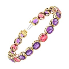 Amethyst, Pink Tourmaline Ovals, Rose and Yellow Gold Bezel Set Tennis Bracelet