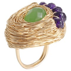 Amethyst & Prasiolite 14 Kt Gold F One of a Kind Cocktail Ring by the Artist