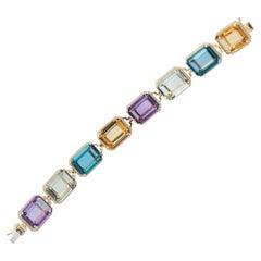 Amethyst, Prasiolite, London Blue Topaz and Citrine Emerald Cut Bracelet