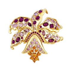 Amethyst Purple Crystal Encrusted Orchid Flower Figural Brooch By Nolan Miller