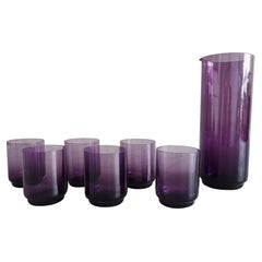 Amethyst Purple Glass Carafe with Glasses, Wagenfeld, Germany, 1960s