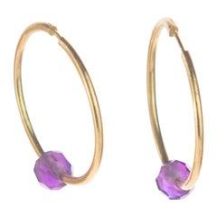 Amethyst Purple Rondelle 18 Karat Gold Planet Boho Modern Chic Earrings