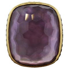 Amethyst Purple Sapphire Mother of Pearl Gold Cocktail Ring