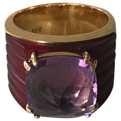 Amethyst Pyramid Ring in 18 Karat Yellow Gold, Made in Brazil