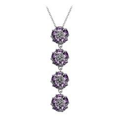 Amethyst Quadruple Vertical Blossom Gentile Necklace