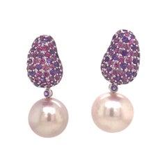 Amethyst Rhodolite Pink Freshwater Pearl 4 Carat 18 Karat White Gold